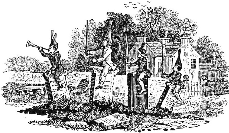 Thomas Bewick woodcut of children on gravestones.